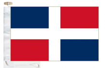 Dominican Republic Civil Ensign Courtesy Boat Flags (Roped and Toggled)